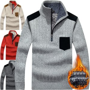 Winter Pullover Mens Sweater Plus Velvet Half Zipper Sweater Thicken Warm Stand Collar Loose Sweater Vetement Homme Men Clothes