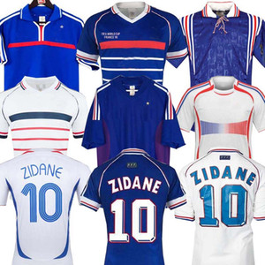 1998 2002 France Rétro Vintage Zidane Henry Maillot Soccer Jerseys 1996 2004 Football Jerseys Chemise Trezeguet Away Finales 2006 Blanc 2000