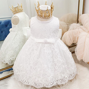New Princess Baby Dress Lace Bow Baby Girl Dresses 3 Months To 12 Months For Wedding And Party