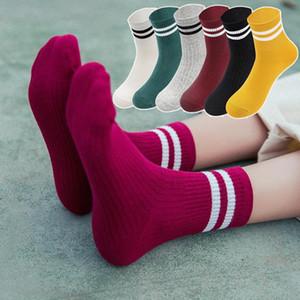 Funny Cute Japanese High School Girls Cotton Loose Striped Crew Socks Colorful Women Harajuku Hosiery Retro Short Socks