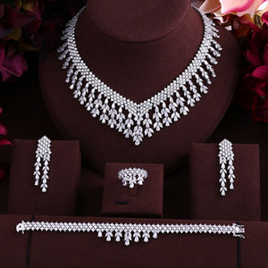 wedding Luxury cubic zirconia tassel bride necklace ,drop earrings ,bracelet and ring 4pcs dubai full jewelry set for bridal 201123
