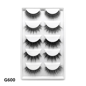 Hot selling 3D mink hair lashes vendor G600 crisscross natural eyelashes with package free shipping private label
