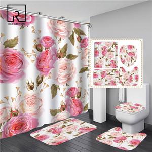 Pink Flowers Rose Elegant Printed Shower Curtain Set Waterproof Women Bathing Bathroom Pedestal Rug Lid Carpet Toilet Cover Z1127