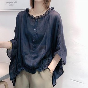 2020 Summer New Arts Style Women Batwing Sleeve Loose Shirts Vintage Cotton Linen Casual Blouses Big Size Femme Blusas M145