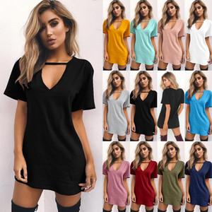 Kadınlar Katı Renk T Gömlek Seksi Derin V Boyun Halter Oymak Serisi Tees T-shirt Uzun T Gömlek Elbise Tops