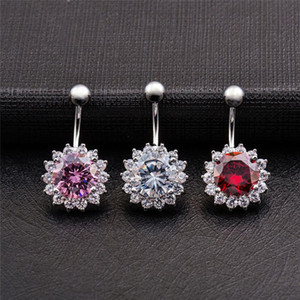 Top Quality Big Cubic Zircon Belly Button Navel Rings Crystal Sun Flower Body Piercing Jewelry Fashion Belly Piercings
