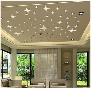 3D Acrylic Star Shape Wall Stickers Mirror Surface for Living Room Bed Room Ceiling Wall Sticker Home Decoration Decals