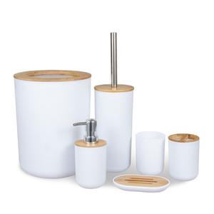 Блюдо отходы Bin Cup Bamboo Деревянные аксессуары для ванной комнаты Установить туалетная щетка для мыла Dispenser Кухонная столешница Freeting Home Hotel C0123