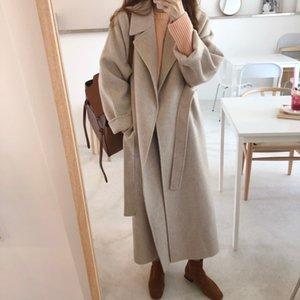 Frühling Herbst Winter Neue Frauen Casual Wollmischung Graben Übergröße Lange Mantel mit Gürtel Kaschmir Oberbekleidung Großhandel OEM