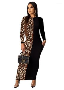 Clothes Sexy Leopard Printed Casual Womens Dresses Slim Panelled Designer Bydcon Dresses Fashion Crew Neck Womens