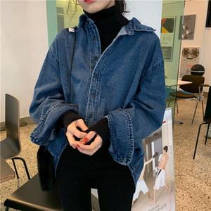 COIGARSAM Full Sleeve Shirt Womens tops Spring Straight Women shirts Blue 91418