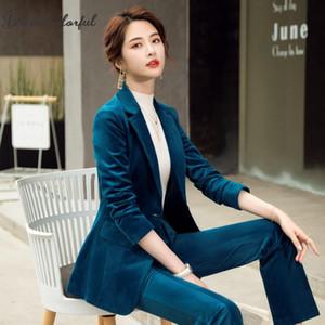 autumn spring suit Corduroy Women's elegant blazer pants and jacket clothing short Business coat 2 piece sets female pants suit