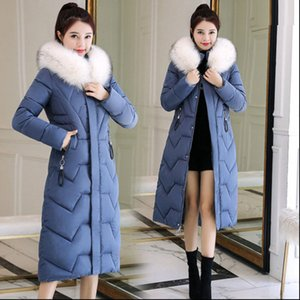 winter clothing in the long section of cotton women's waist was thin thick cotton coat over the knee big fur collar down jacket