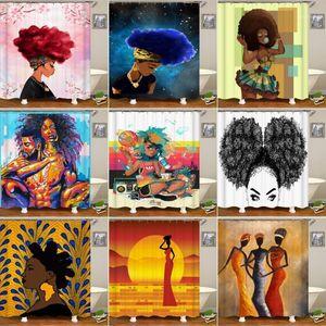 Bipoobee Africa Sexy Girl Ванная комната Шторы Афро-американских Женщины Полиэстер Ткань Душевая Занавеска Ванна Ванна Декор1