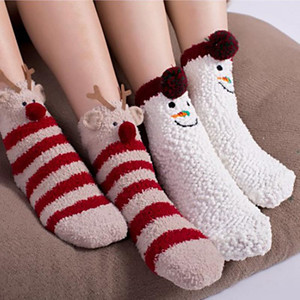 3D Cute Animals Winter Warm Crew Fuzzy Socks Value Pack Women Girls Colorful Indoors Fluffy Fuzzy Slipper Socks 50pair EWE4077