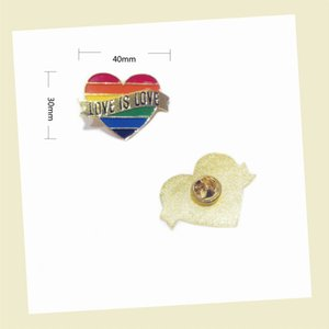 Gay Pride Heart Rainbow Flag Brooches Lapel Pin LGBT Pins Love Is Love Enamel Pins for Women Men Jewelry Accessories Gift