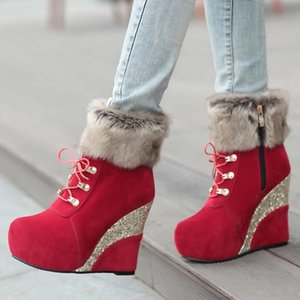 RIBETRINI New Arrivals Chic winter boots Boots Women Big Size 43 Wedges High Heels Add Fur Snow Booties