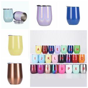 Egg Mugs Colourful Stemless Wine Glasses with Lid Shatterproof Vacuum Egg Shape Mug Stainless Steel Egg Cups 12oz water bottle LXL587-L1