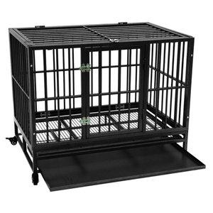 Waco Heavy Duty Dog Crate, 42-дюймовый крепкий металлический питомник и ящик для крупных собак Cat, легко собирать с четырьмя колесами