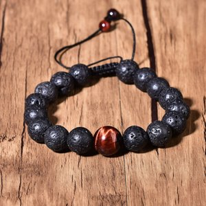 Natural Lava Red Tigers Eye Quartz Reiki Crystal Fashion Chakra Charm Bracelet