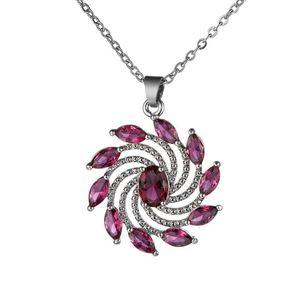 Women's Wedding Jewelry Oval Zircon Flower Pendant Necklace Clavicular Chain Valentine's Day Gift