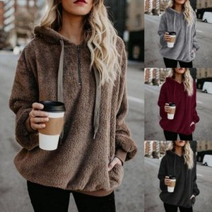 Sweatshirt Women Winter Warm Fluffy Plush Sweatshirts Hoodies Causal Fleece Fur Sweatshirt Pullover Tops Drop Shipping