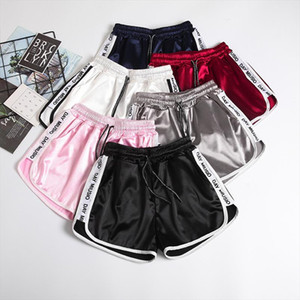 Jogger Letter Striped Sport workout shorts Ladies Lace up Womens Elastic Waist Shorts Summer Patchwork Gym Athletic Loose Shorts
