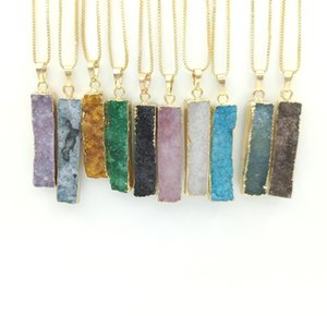 Geode Druzy Long Bar Long Rectangle Agate Pendant Genuine Gemstone Natural Agate Pendant With Brass Chain Necklace
