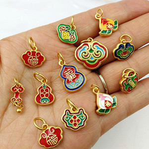 5pcs Chinese Lucky Placer gold Cloisonne Enamel Pendant DIY Charms Jewelry Making Supplies Necklace Bracelet Anklet Accessories Wholesale