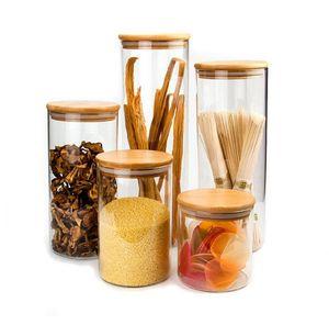 Прозрачные стеклянные корзины для хранения пищевых каниток пробки покрывают бутылки барабанчиков для песка жидкие пищевые экологически чистые стеклянные бутылки с бамбуковой крышкой
