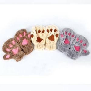 Glaw Paw Peluche Mitatens Short Demi-Doigt Gants de doigt Bear Cat Peluche Patch à patte Demi doigt Glove Douce Demi-Cover Gants WQ17