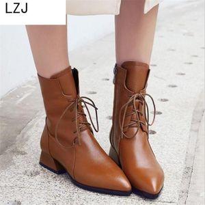 LZJ 2020 Frauen Herbst Winter Knöchelstiefel Neue spitzige High Heels Dicke Ferse Stiefel Leder Frauen Booties