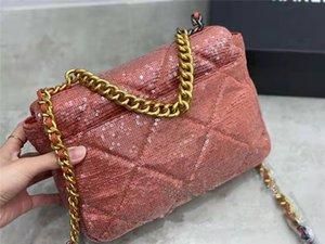 Mermaid Pailletten Baguette Taschen Zweifarbige Silbergoldenketten Strap Umhängetaschen Criss-Cross-Aushöhlen-Schnalle-Hase-Handtaschen Luxurys Design
