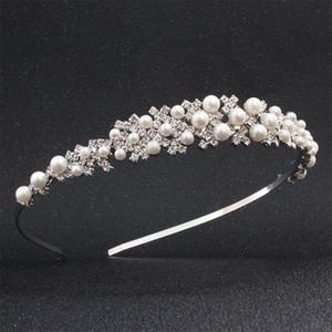 Mode princesse Rhin Stone Tiara Bridal Crown Crown Girl Elegant Bandes de cheveux Cristal Pearl Cristal De Mariage Cheveux Bijoux Bandeau Cadeau