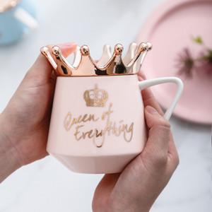 Taza de cerámica de la taza de cerámica de la corona de la corona de la taza de la taza de la taza con la taza femenina de la oficina de la oficina