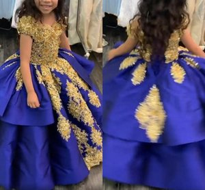 2021 Royal Blue And Gold Girls Graduation Pageant Dresses Ball Gown Lace Crystal Short Sleeve Lace-up First Communion Dress Party Formal