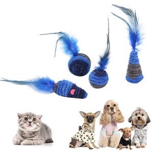 고양이 자기 흥분 진한 파란색 시리즈 깃털 장난감 집 안티 우울증 플러시 로프 와인딩 치아 청소 Molar Toys TxtB1