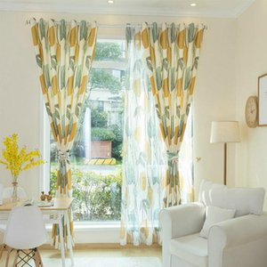 Yellow Leaves Tulle Curtain for Living Room Bedroom Sheer Curtains Fabric Drapes Nordic Rustic Kitchen Curtains Window Treatment