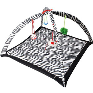 """Zebra Print Cat Play Tent with Dangle Toys Pet Interactive Kitty 22""""x23""""x13 NEW"""