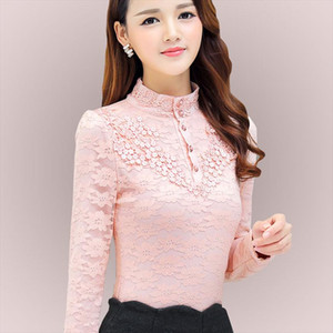 Autumn Elegant Lace Blouse Women Stand Ladies Tops Long Sleeve Button Shirt Fashion Korean Clothes Femme DF2252