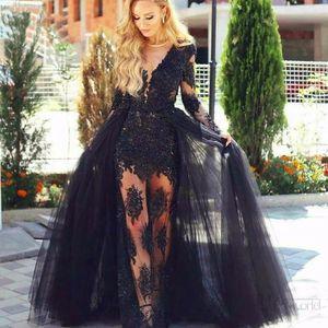 Sexy Illusion Black Evening Dresses 2021 Lace Full Sleeves Detachable Train Mermaid Lace Party Prom Dress Vestidos De Fiesta Long Lady Dress
