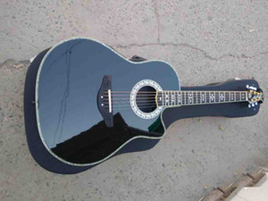 Custom 6 strings abalone professional ot guitar round back solid wood ovat electric acoustic guitar
