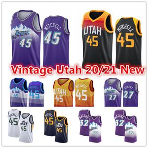 Vintage Donovan 45 Mitchell Jersey Rudy 27 Gobert UtahJazz2021 Juan 12 Stockton Karl 32 Malone City Basketball Jersey