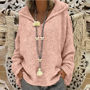 40#Solid Color Sweaters Women Fashion Loose Large Size Hood Long Sleeves Sweater Pullover Tops jerseys mujer moda 2020 invierno