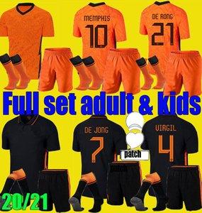 Männer Kinder 20 21 Niederlande Fußball Jerseys De Jong Wijnaldum Holland Virgil Football Kits Hemd 2020 2021 Strootman Memphis Jungen Set Uniformen