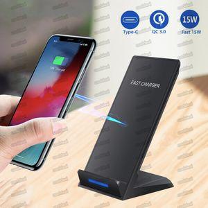 شاحن لاسلكي 15W لجهاز iPhone X 8 8 Plus QI Wireless Fast Art Pad for Samsung Note 8 S8 S7 جميع الهواتف الذكية التي تعمل تشي MQ20