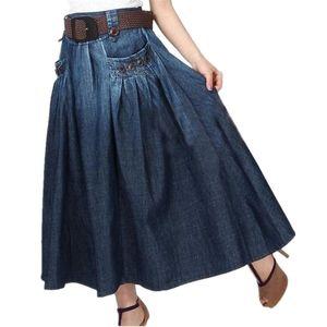 TIYIHAILEY ERIS LIVRAISON GRATUITE Mode Denim Tous-Match Castral Jeans décontractés Jupe à la taille élastique Jupe longue pour femmes avec ceinture S-3XL 201109