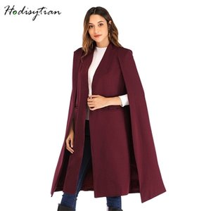 Hodisytian Femmes Trench Capes Élégantes Capes Casual Blaser Solid Streetwear Cardigan Femme Poncho Outerwear 201210