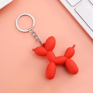 Neue bunte bunte ballon dog schlüsselanhänger für mann weiche gummi pvc nette schlüsselanhänger frauen keychain auto keyring tasche anhänger telefon charme