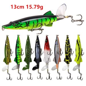 8 Color Mixed 13cm 15.79g Popper Fishing Hooks 6# Blood Slot Hook Hard Baits & Lures BU-195